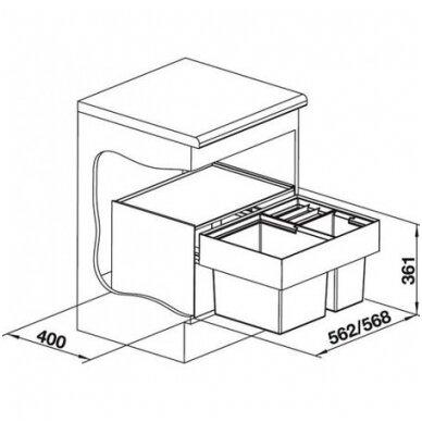 Atliekų rūšiavimo sistema Blanco SELECT 60/3 XL 3