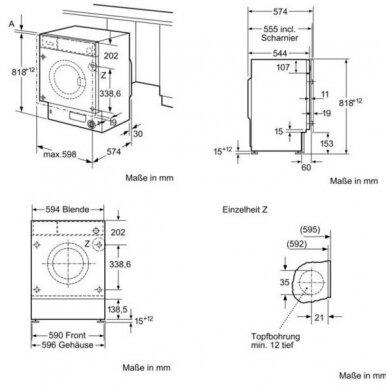 Įmontuojama skalbimo mašina Bosch WIW28541EU 4