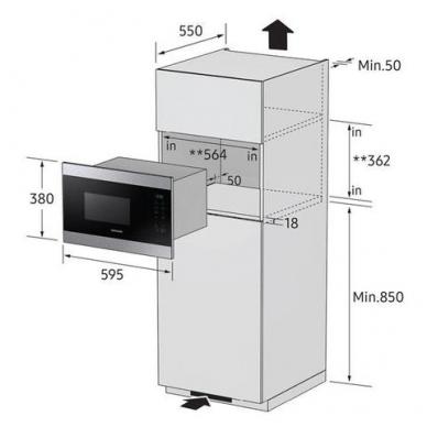 Mikrobangų krosnelės Samsung MG22M8054AK 3