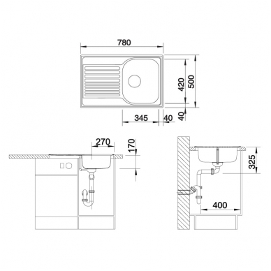 Plautuvės Blanco TIPO 45 S Compact 3