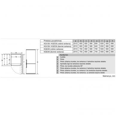 Šaldytuvai Bosch KGE39AICA 3
